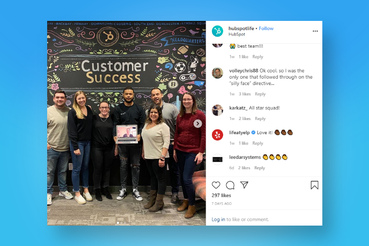 Hubspot leverages Instagram to promote their employer brand