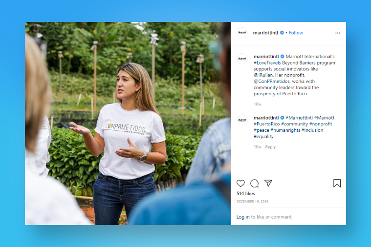 Marriott Hotels promotes their employer branding on Instagram
