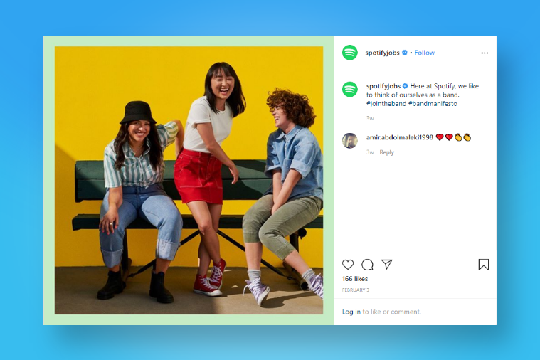 Spotify - One of the best examples of Employer Branding on Instagram