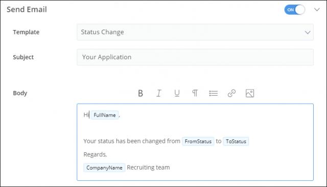 Sending recruitment status email to candidates